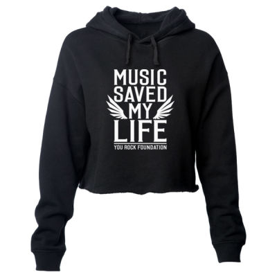 MUSIC SAVED MY LIFE - PREMIUM WOMEN'S CROPPED PULLOVER HOODIE - BLACK Thumbnail